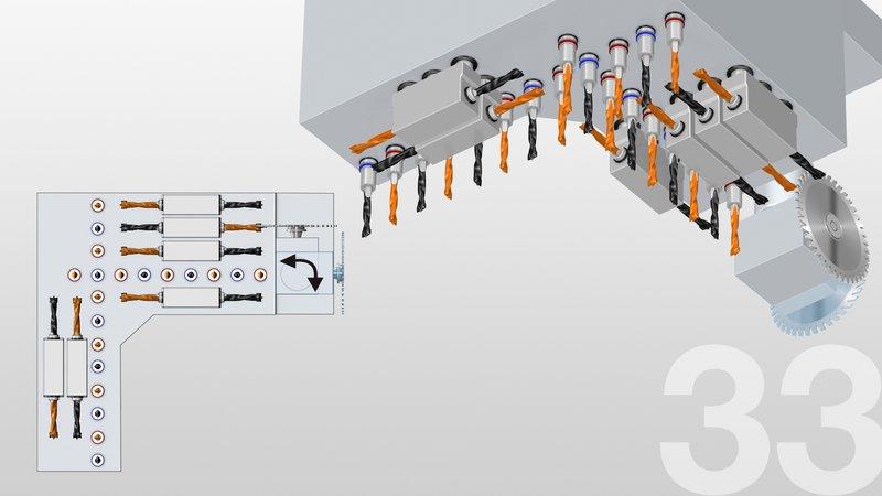 18 wrzecion wiertarskich [V12/H6 | High-Speed 7500] i 1 piła nutująca [Ø 125 mm | 0° / 90°]